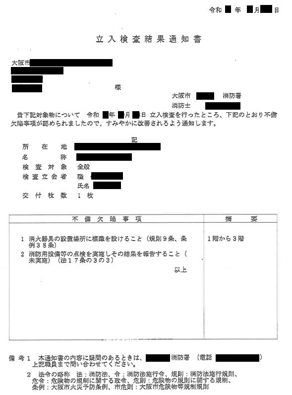 立入検査結果通知書